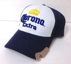 CORONA EXTRA BEER HAT WITH BOTTLE OPENER! White Navy Blue Snapback  Men Women EUC  Corona  BaseballCap d48783d8f11c