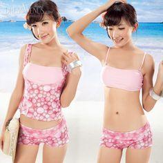 Spotted, Swimwear , $30.99, Seductive Pink Spotted Three Pieces Swimwear