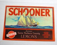 Schooner Lemons Vintage Crate Label