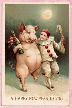 PIERROT CLOWN DANCES W/ PIG New Year FANTASY FACE MOON Champagne 1911 POSTCARD