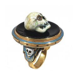 Attilio Codognato Enamel Onyx Diamond Skull on Tray Memento Mori Ring | From a unique collection of vintage fashion rings at https://www.1stdibs.com/jewelry/rings/fashion-rings/