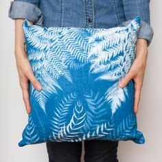 Sun print botanical pillow  ferns and leaves in by MiniatureRhino, $42.00