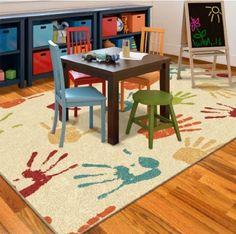 Orian Handprints Fun Kids' Area Rug X - Ideal for Bedroom or Playroom Playroom Furniture, Playroom Table, Playroom Decor, Modern Playroom, Toddler Playroom, Playroom Storage, Playroom Design, Bedroom Furniture, Furniture Design