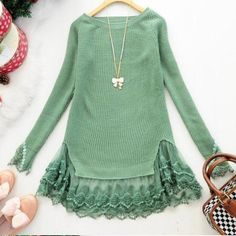 Ribbed sweater with lace details never worn Green ribbed sweater with lace detailed trim Sweaters Crew & Scoop Necks