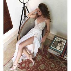 $179.99 White Spaghetti Straps Lace Bodice Front Slit Prom Dress,Long Chiffon Prom Dress with slit