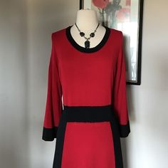 """ALFANI RED AND BLACK DRESS Black and red ,perfectly made , knitted 74% Rayon,26%nylon .Model # 8046 .Length 42"""" Fits to sizes 12-14 . Alfani Dresses"""