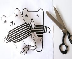 Screen Printed Bill Bear Fabric Panel / kit for Toy, Doll, Cushion, Wall art by Jane Foster - retro monochrome
