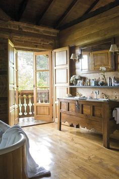 New Cabin Interiors Bathroom. Best S From Modern Cabin In 2020 Style At Home, Cabin Bathrooms, Cabin Interiors, Log Cabin Homes, Log Cabins, Cabins And Cottages, Home Interior, Interior Doors, Bathroom Interior