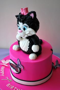 Kitten cake Two chocolate cakes ( to make kitten use two foam balls, both same size, covered with sugarpaste:)