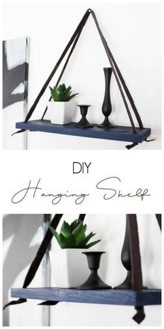 Diy Home : Illustration Description Love this simple modern shelf idea! This simple DIY hanging shelf makes the perfect wall art. If you have some scrap wood and leather you can make this floating shelf in no time! -Read More – - #DIYHome