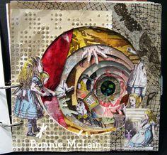 "Alice in Wonderland: Bonnie McLain's ""Down the Rabbit Hole"" altered scrap book. inspirational"