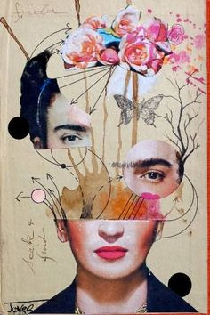 Moderne Kunst Bilder - Loui Jover frida for beginners Poster bei Posterlounge ✔ Gratisversand ✔ Kau. Collage Kunst, Art Du Collage, Art Collages, Art Paintings, Collage Artists, Collage Drawing, Collage Design, Mixed Media Collage, Painting Collage