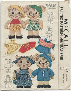 Stuffed cat and dog sewing patterns Childrens Sewing Patterns, Mccalls Patterns, Craft Patterns, Vintage Sewing Patterns, Doll Patterns, Crochet Patterns, Vintage Crafts, Vintage Toys, Cute Crochet