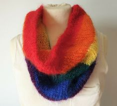 Hand-knitted Pride rainbow scarf in luxury yarn and gorgeous colors Rainbow Pride, Mittens, Hand Knitting, Ebay, Accessories, Color, Fingerless Mittens, Colour, Gloves