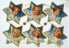 GOLD GLITTERED SCRAP Reliefs  Angels in Stars by OneDayLongAgo