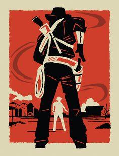 Read dead, rockstar games, screen print poster, minimalist poster, design p Westerns, Red Dead Redemption 1, Party Hard, Read Dead, Arte Cyberpunk, Cowboy Art, Le Far West, Video Game Art, Minimalist Poster