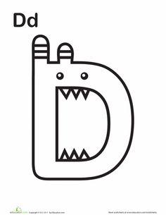 "ART-ACTIVITY=Worksheets: Monster ""D"""