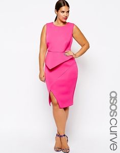 ASOS CURVE Premium Origami Dress with Asymmetric Detail And Plunge WINTER FORMAL!?