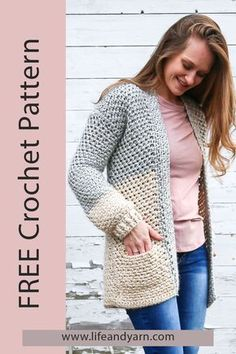 I love pockets and I don't know why I haven't added them into more of my designs! Being a mom on the go I always need pockets! I have been wanting to design a quick crochet cardigan with pockets for some time now and finally got around to it! Cardigan Au Crochet, Crochet Jacket, Crochet Scarves, Crochet Shawl, Crochet Clothes, Crochet Sweaters, Crochet Cardigan Pattern Free Women, Sweater Cardigan, Pull Crochet