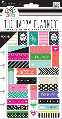 The Happy Planner Bold - Washi Create 365 Planner Stickers 5 Sheet - 175 pieces
