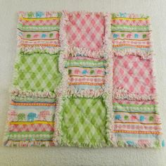 pink & green elephants & argyle rag blanket