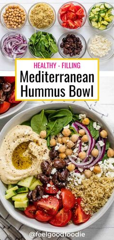 Easy and quick to make, a Mediterranean hummus bowl is a great healthy and filling meal. Made with quinoa, fresh veggies and homemade hummus. Hummus Recipes | Grain Bowl | Buddha Bowl | Power Bowl | Salad Recipes | Vegetarian Meals | Vegan Friendly | Vegan Meal Ideas | Lunch Ideas | Meal Prep Ideas