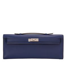#Hermes Kelly Cut #Clutch Blue Sapphire Swift Palladium Hardware