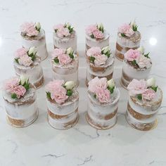 These little pretties have killed me!! 12 individual mini semi-naked cakes with vanilla buttercream and jam centres all dressed with fresh flowers...worth the many hours they took to finish #thesweetpantry #mininakedcakes #seminakedcakes #nakedstacks #babyshower #wedding