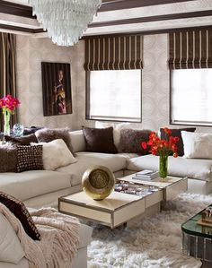 current living room inspiration: fur, lots of pillows, chandelier, table (Tamara Mellon's apt by Martyn Lawrence Bullard) Living Room On A Budget, My Living Room, Home And Living, Living Room Decor, Living Spaces, Living Area, Home And Deco, Living Room Inspiration, My New Room
