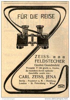 Original-Werbung/Inserat/ Anzeige 1909 - ZEISS FELDSTECHER / CARL ZEISS JENA- ca. 75 x 100 mm
