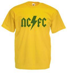 £9.99 - #AC/DC Style Mens #Football #T-Shirt M/L/XL/2XL/3XL/4XL/5XL #Norwich City Canaries - Worldwide Delivery