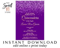 Quinceanera Invitation, Purple Glitter Quince invitation, Lilac 15th Elegant Printable Quinceanera Invitation, Editable Instant Download Quince Invitations, Quinceanera Invitations, Glam And Glitter, Rose Gold Glitter, Drink Labels, Bottle Labels, Louisa Rose, Glitter Party Decorations, Text Message Invitations