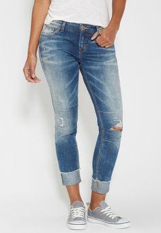 Silver Jeans Co. ® girlfriend jeans with destruction