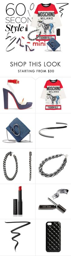 """""""60 second fashion"""" by riquee ❤ liked on Polyvore featuring Christian Louboutin, Moschino, 3.1 Phillip Lim, Jean-Paul Gaultier, Adele Marie, Le Métier de Beauté, Bobbi Brown Cosmetics, The Case Factory, white and black"""