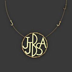 "Custom designed ""family"" initials necklace"