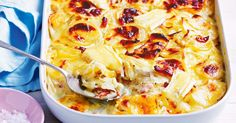 Use creamy brie, thyme and crispy bacon to make the ultimate winter potato bake. Vegetable Side Dishes, Vegetable Recipes, My Favorite Food, Favorite Recipes, Potato Side Dishes, Rice Dishes, Cooking Recipes, Healthy Recipes, Healthy Foods