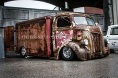 Chev Chevy Chevrolet COE Cab over Engine with a vintage cold produce box refrigerated enclose rear box slammed and laided out.