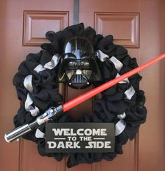 Darth Vader Wreath by KnitsAndWreaths on Etsy #kidswoodcrafts