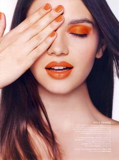 """It's all about the """"orange tones"""" for Spring Makeup. Put it on your eyes (careful here), fingers or lips. Mirror Mirror Salon and Spa Kelowna BC Summer Eyeshadow, Orange Eyeshadow, Orange Makeup, Eyeshadow Makeup, Lip Makeup, Pretty Makeup, Makeup Looks, Orange Nail Polish, Orange Nails"""