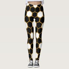 Shop Gold Black White Honeycomb Hexagon Trendy Leggings created by wowpattern. Black And White Colour, Black Gold, Cute Leggings, Leggings Fashion, Honeycomb, Body Types, Dressmaking, Things That Bounce, Shop Now