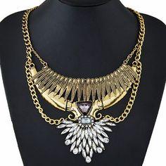 Старинные золотые / покрыл металл макси ожерелье для женщин листья ожерелье заявление ожерелья и подвески Boho ювелирных изделий