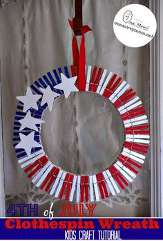 One Savvy Mom™ | NYC Area Mom Blog : 4th of July Clothespin Wreath Kids Craft