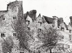 Castle Ruins At Hay On Wye Drawing