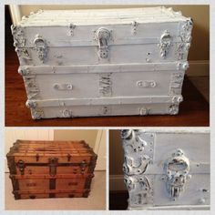 Antique trunk hand painted and