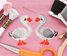 Gorgeous Goose Geese Easy Beginners Cross Stitch Pattern PDF