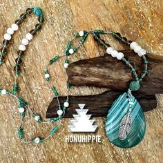 Agate pendant Feather Necklace, boho hippie fashion jewelry by HonuHippie on Etsy https://www.etsy.com/listing/293030001/agate-pendant-feather-necklace-boho