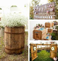 As peças fundamentais para decoração no campo são de madeira, vime e cerâmica. Você também pode aproveitar materiais como pallets, caixotes de feira e barril para criar mesas, ambientes e lounges diferenciados.