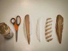 "the letter 4: Spray Painting Feathers - these would make great ""wizard quills"" or fantasy feather decorations."