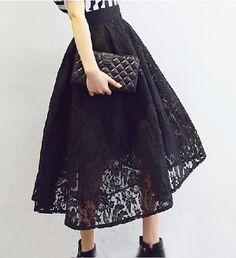 black lace pure color   long skirt US $35.60