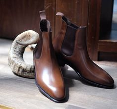 Freshly unboxed, Brown calf Chelsea boot in the Simpson last by Carmina available now at The Armoury HK.  #thearmoury #carminashoemaker #mensshoes